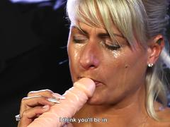 Three slave girls trained in the art of blowjob