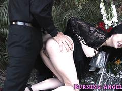 Pale goth banged on grave