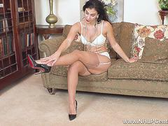 Busty babe Roxy Mendez strips off sexy lingerie to masturbate in vintage nylons and heels
