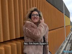 Public Agent Spanish shaven pussy fucked outdoors in public