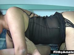 We cum in the mouth of the milf after anal and DP