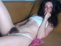 Beautiful Black Haired Babe With Hairy Pussy