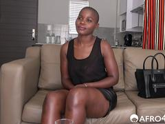 Bald African amateur slut on her knees to please white cock