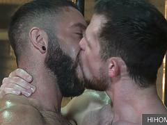 Two muscular stallions feasting at each other