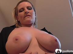Busty chick plunges her pussy with fingers