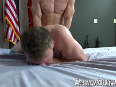 Athletic blond soldier doggystyle barebacks tattooed comrade