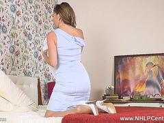 French Milf Chloe strips and fingers herself off in vintage girdle sheer tan nylons