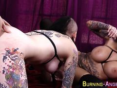 Inked punks in threesome