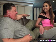 Sweet 18yo Akira May fucks with grandpa Eddie