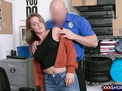 Cute thief shop employee busted and gets punish fucked