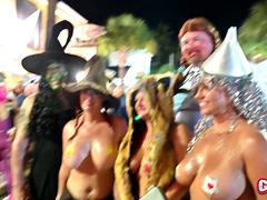 Naked party Girls flashing in the street all NEW Fantasy Fest