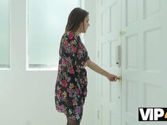 VIP4K. Valentine Nappi sucks huge cock and gets blacked in the kitchen