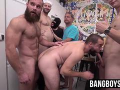 Twinks and jocks enjoy party barebacking and giving blowjobs
