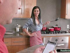 Busty stepmom deepthroats and rides on her stepsons big cock