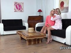 Nice lesbo sweeties get covered with piss and burst wet twats