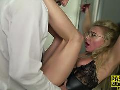 Restrained milf pounded
