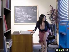 busty librarian sherdian bangs with a hot student clip