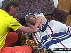 Russian Hairy Blonde Mommy Fucked By Not Stepson