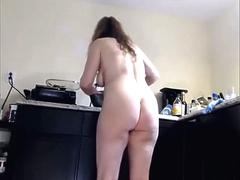 my mom cooking naked