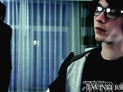 Twink with glasses analpounded hardcore and sprayed with cum