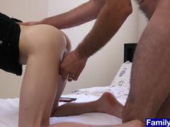 Stepdaddy gives his boy a well cut brief and fucks him