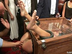 Petite slave is fucked in public party