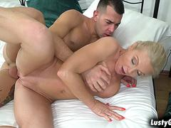 Naughty maid Franny sees the young studs big cock