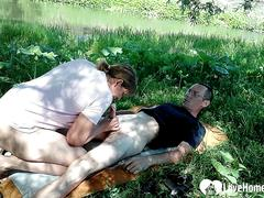 Juicy mature gets her hole drilled outdoors