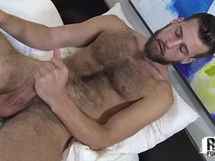 RawFuckBoys - Young hairy stud strokes big cock solo after hot workout