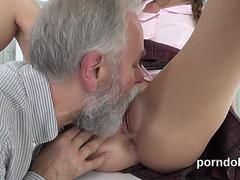 Erotic schoolgirl is tempted and penetrated by aged schoolteacher -