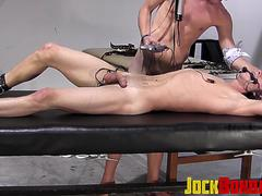 Rough domination plus cock stroking with adorable twink man