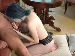 Blue Hair Tiny Girl Hooker Jessii Fuck by old German Guy