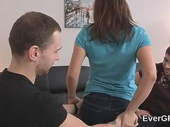 Poor guy allows hot friend to drill his ex-girlfriend for hard cash