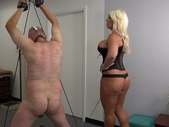 Sexy blond Mistress Mercedes whip her fat small slave with whip, flogger and crop.