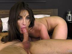 Natural Big Tits Babe Gives A Blowjob and Fingers Her Shaved Pussy Hardcore