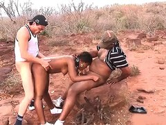 cute african teen gets rough outdoor interraical big cock fucked