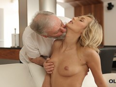 OLD4K. Mesmerizing petite model Jenny Smart fucked by old man