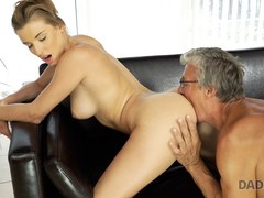DADDY4K. Teen coquette sucks boner of old man who is her BFs father