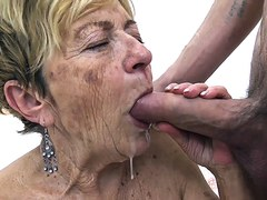 horny 90 years old granny gets extreme deep fucked in her hairy cunt by a young toyboy