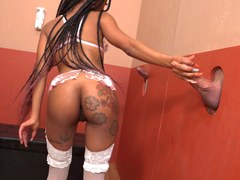 Petite Ebony Mini Stallion Sucks And Fucks White Dicks - Gloryhole Initiations