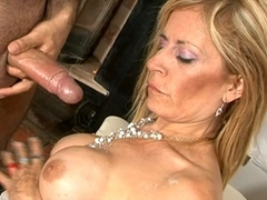 Blonde cougar Alejandra blowjob and sex