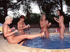 Vintage lesbian babes having fun outdoor